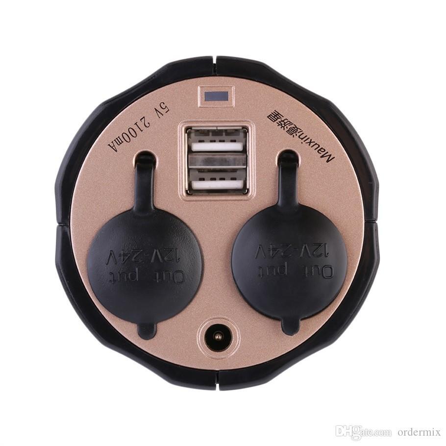 Divisor de enchufe auto del divisor del zócalo del encendedor de 2 maneras Adaptador de corriente del cargador del divisor del zócalo del enchufe + del puerto dual del USB DC 5V-12V