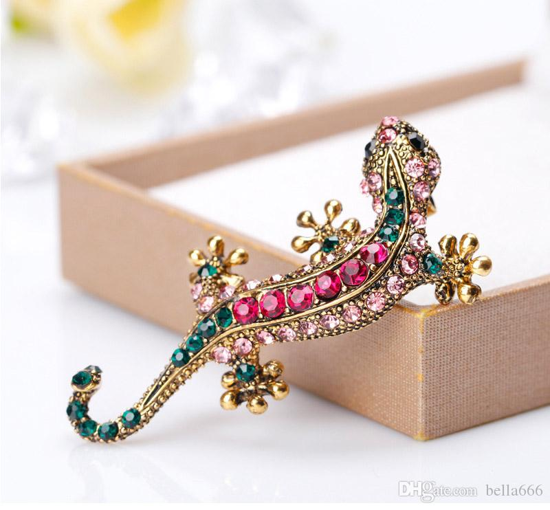 Women Retro Alloy Lizard Gecko Four Claw Snake Colorful Gold Rhinestone Brooches Pins Garment Corsage Jewelry Accessory