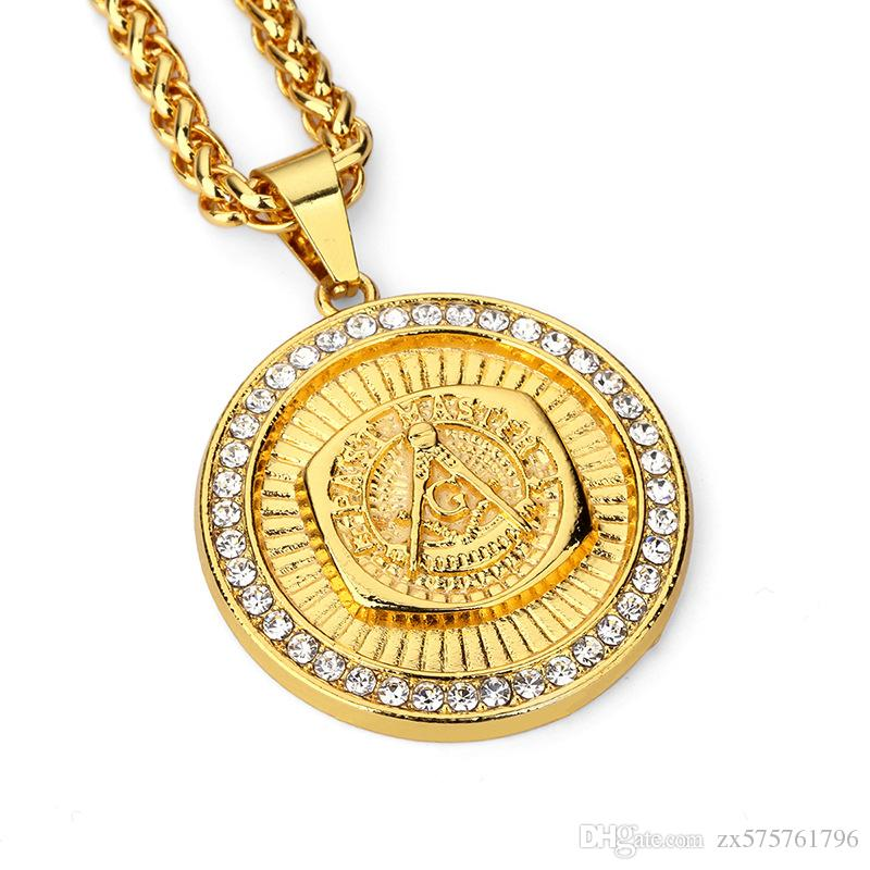 Wholesale new fashion jewelry men circle pendant necklaces 18k gold wholesale new fashion jewelry men circle pendant necklaces 18k gold plated 75cm long chain design rhinestone filling pieces mens punk hip hop gift locket aloadofball Image collections