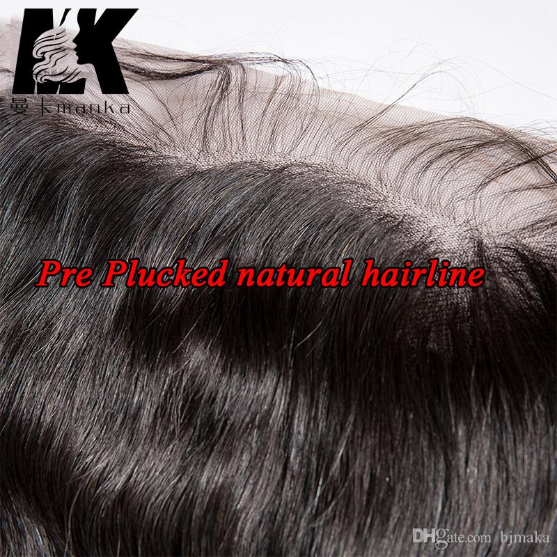 Preenchimento frontal pré-arrancado com cabelo do bebê cabelo natural orelha para orelha lace frontal virgem brasileira cabelo