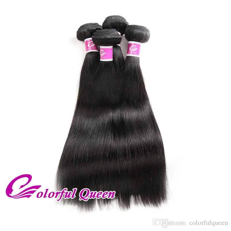 Colorful Queen Grade 7A Peruvian Straight Hair Weave Bundles Deals 100% Unprocessed Human Hair Human Hair Extensions Natural Black