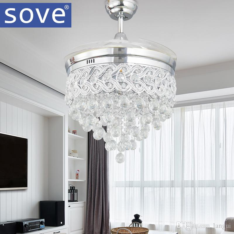 2018 sove modern led chrome crystal ceiling fan with lights bedroom 2018 sove modern led chrome crystal ceiling fan with lights bedroom living room folding ceiling fan remote control decorative home lamp from langui aloadofball Images