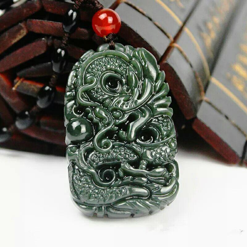 Reine natürliche Hand geschnitzten Jade Drachen China Hetian Jade Anhänger günstiger Drachen Halskette FREI männlichen Körper