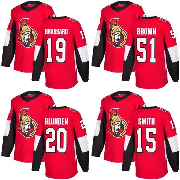 low priced e580a 8ba75 2017 New Brand Adults Ottawa Senators 15 Zack Smith 19 Derick Brassard 20  Michael Blunden 51 Brown Red Ice Hockey Jerseys Accept Custom