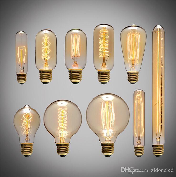 discount american vintage edison light bulbs tungsten wire light source pendant lights 110v 220v e27 brass lamp holder bulbs hanging lighting