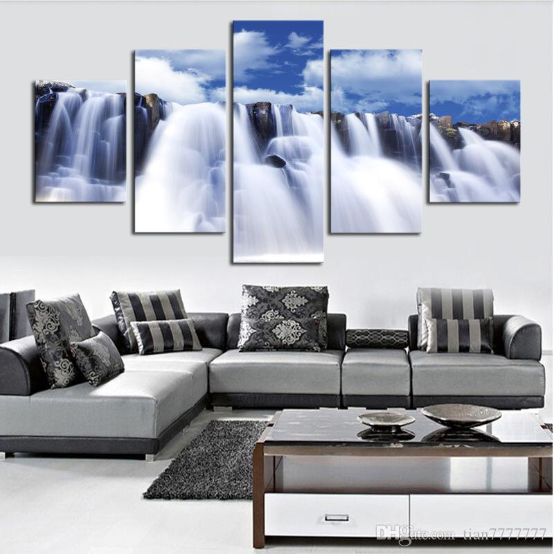 5 шт. без рамы стены искусства холст картины сильный водопад природные пейзажи живопись для гостиной Home decor печати плакат