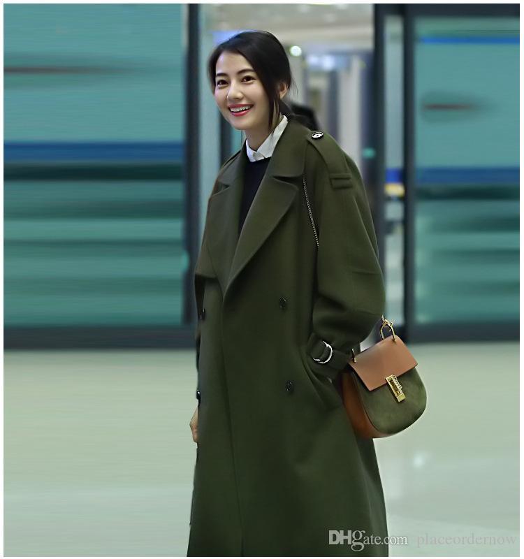 Compre Abrigos Coreanos Para Las Mujeres Del Diseñador Abrigos Para Mujer  Abrigos Largos De Lana Largos Del Invierno Del Ejército Verde Frente Abierto  ... 0bd44657e060