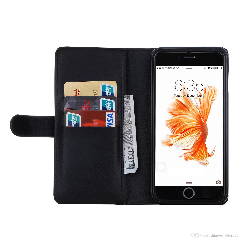 2 i 1 Magnet Avtagbar flyttbar blixtlås Läder plånbok Fodral Förpackning för iPhone 7 8 /