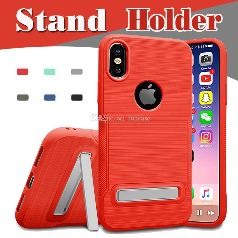 443834a86 For IPhone X Case Brushed Hybrid Armor Stand Holder TPU Shockproof  Protective 2 In 1 Cover For IPhone 8 7 Plus 6 6S Samsung Note 8 S8 S7 Cell  Phone Case ...