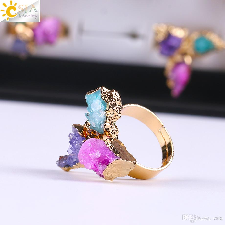 CSJA Women Gold Rings Wholesale Natural Irregular 3 Gem Stone Beads Healing Raw Crystal Quartz Jewelry with Box Wedding Finger Rings E098 B