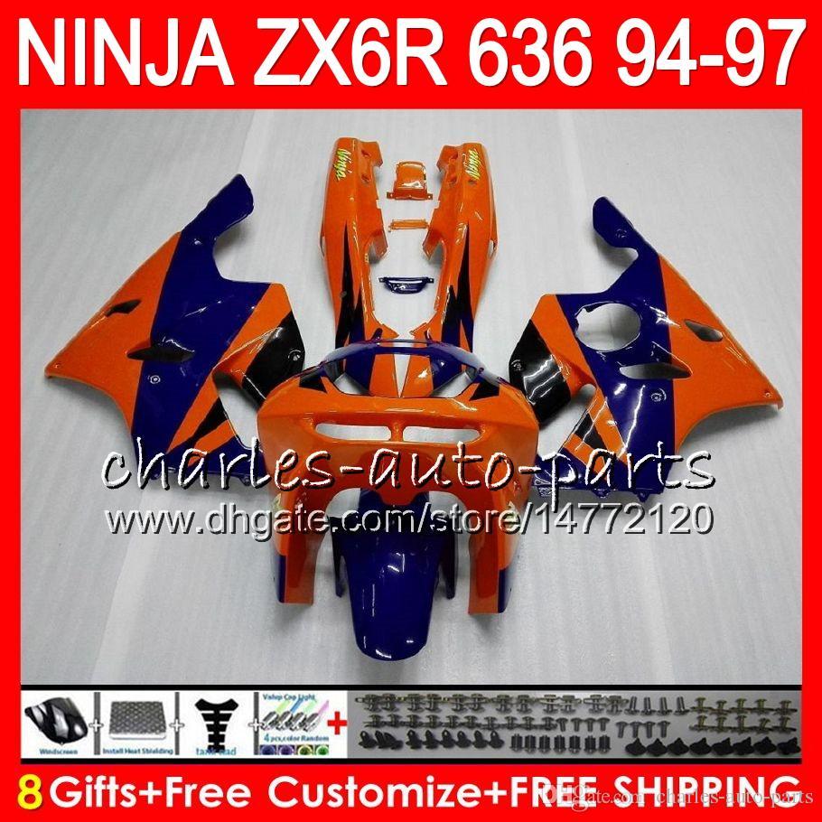 8Gifts For KAWASAKI NINJA ZX636 ZX6R 94 95 96 97 ZX-6R ZX-636 orange blue 33NO29 600CC ZX 636 ZX 6R 1994 1995 1996 1997 Fairing kit