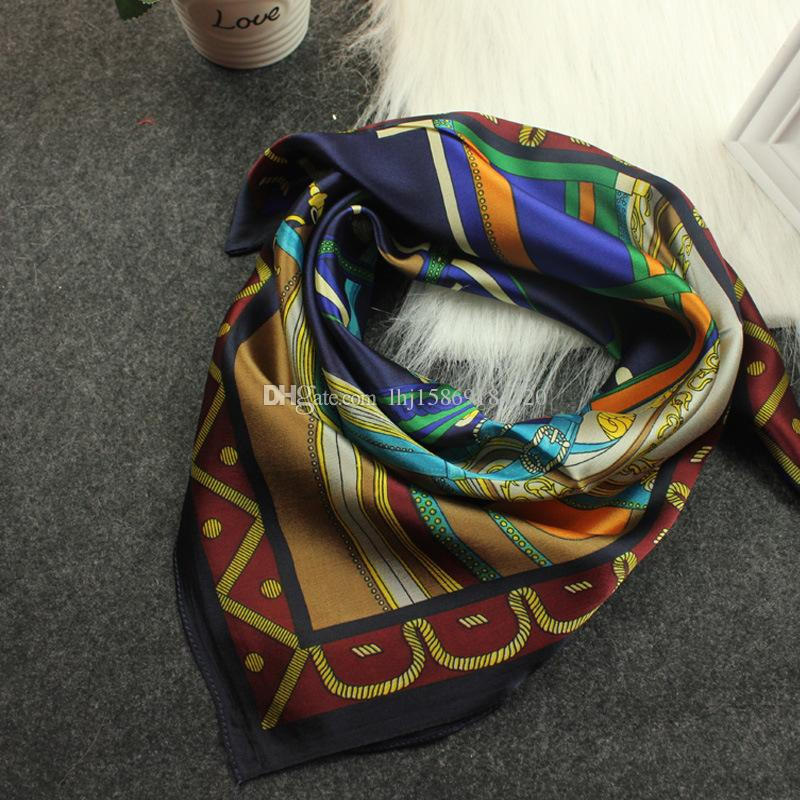 Smile Scarf 60*60CM Four Colors Women Silk Square Scarves Painting Girls Small Square Scraf Silk Kerc A60FJ0011
