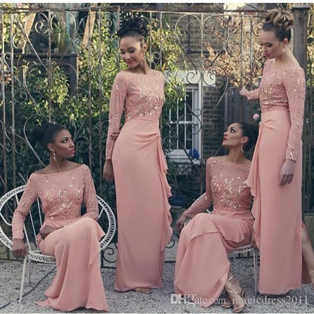 Long Sleeve Muslim Wedding Chiffon Bridesmaid Dresses Lace Appliques Beads Hijab Maid of Honor Gowns Islamic Coral Dress for Party Wear