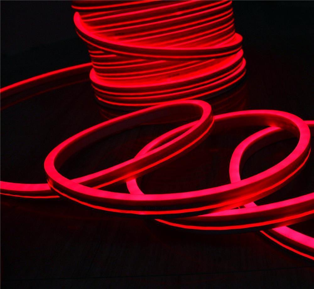 горячие продажи 50 м золотник 11x19 мм плоский неон flex ультра тонкий светодиодные неоновые огни веревки ПВХ трубки 220 В 110 в IP67 для открытый