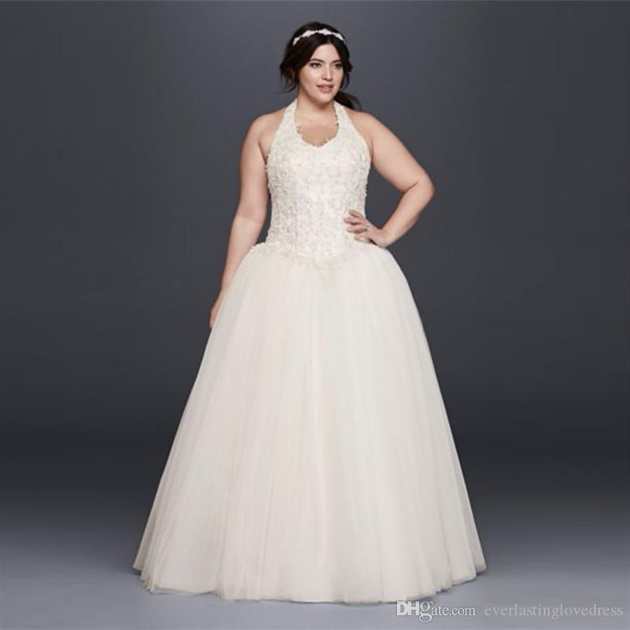 Halter Neckline Basque Waist Plus Size Ball Gown Wedding