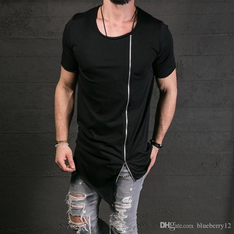 Cotton Tee Men's Fashion Show Stylish Long T shirt Asymmetrical Side Zipper Big Neck Short Sleeve T-shirt Male Hip Hop Tee