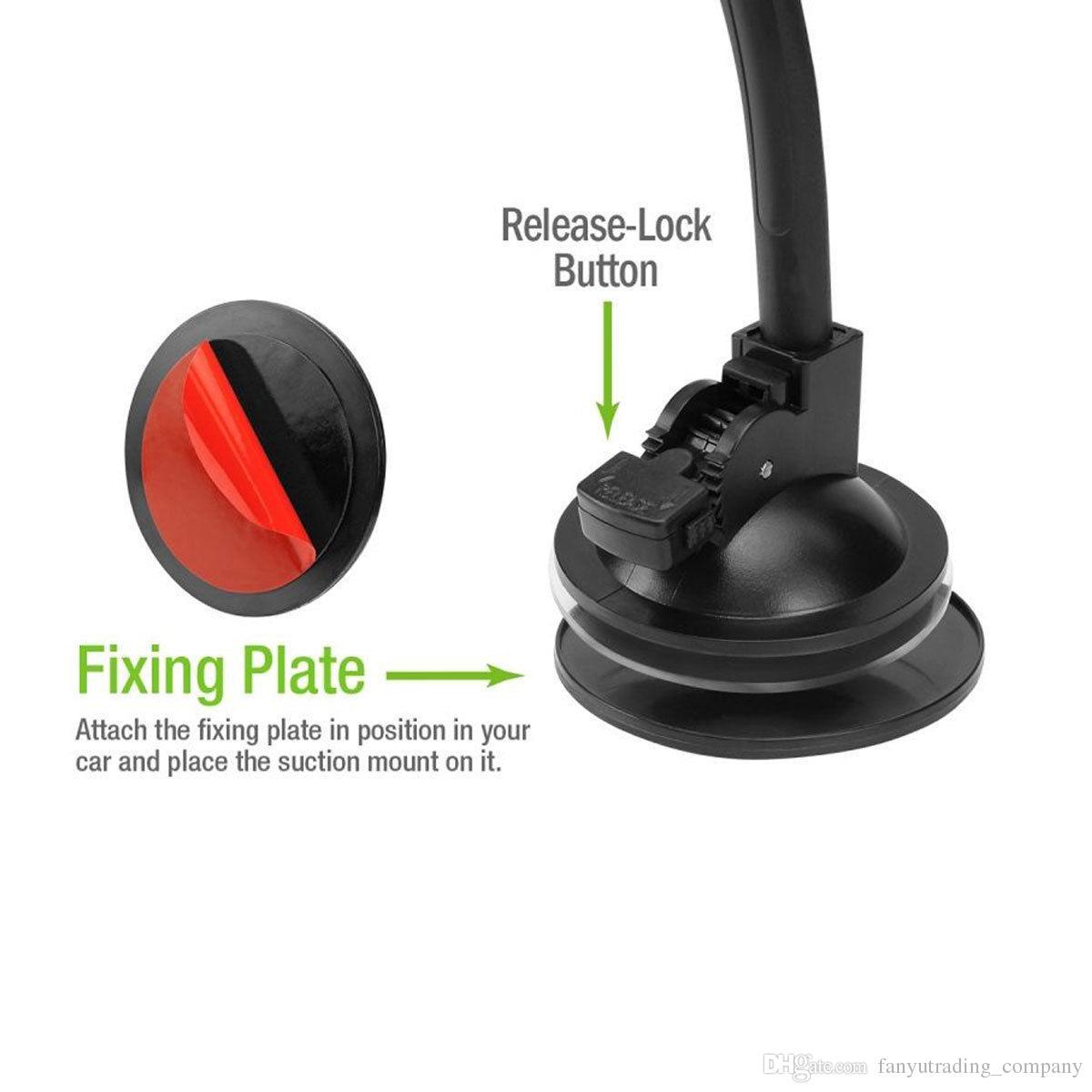 Nuevo soporte giratorio de ventosa giratoria de 360 grados Soporte para parabrisas del coche Soporte para teléfono celular / iPhone / iPad / PDA / MP3 / MP4 Envío gratis