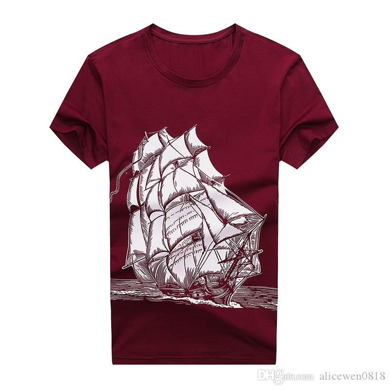 d3fb363ee8b 2017 Summer Red Wine Color Mens T Shirts Good Fabric Cotton Leisure Short  Sleeved T Shirt Boat Printed Shirts O Neck Men T Shirt For Men 10 T Shirt  Awesome ...