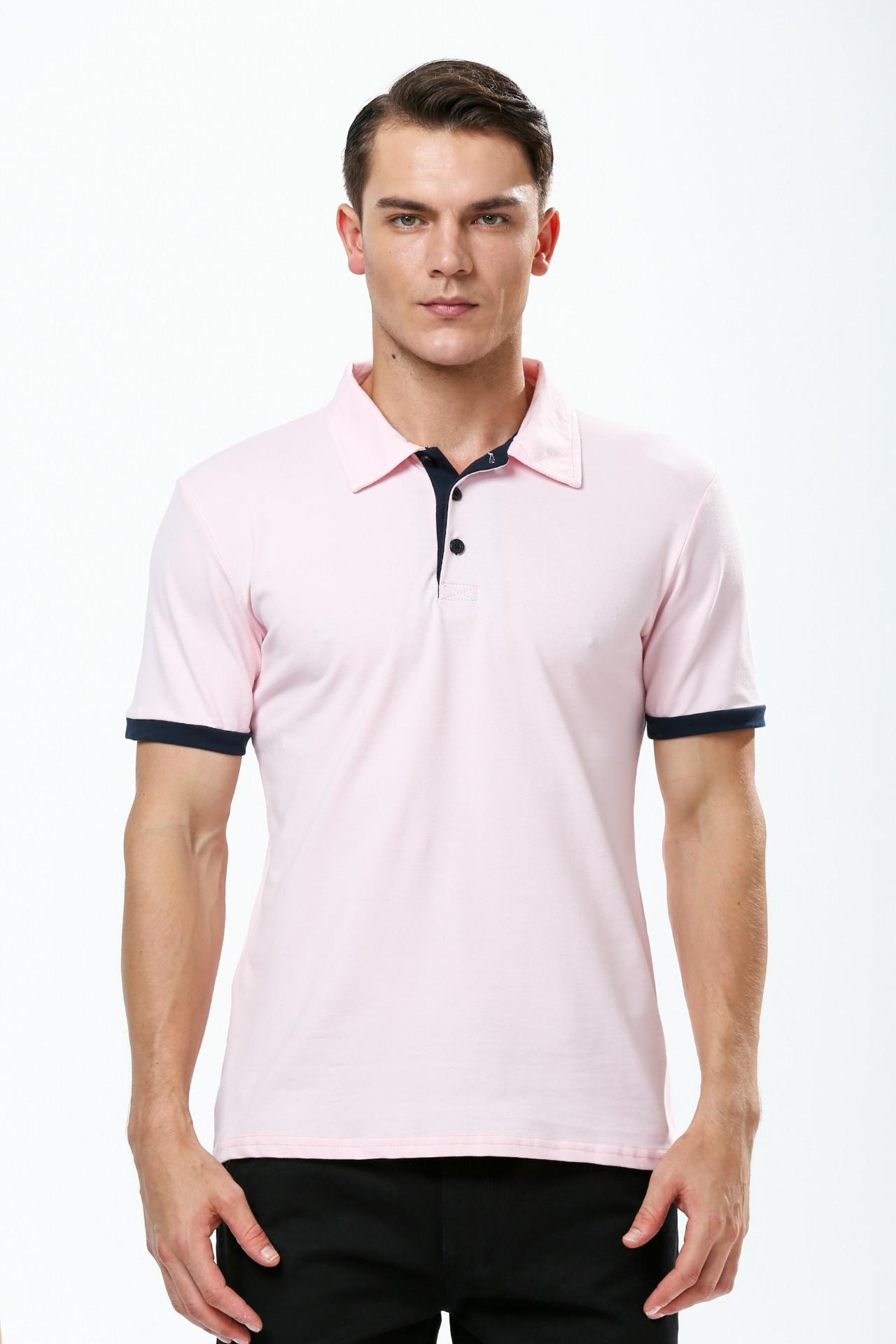 New Fashion Brand Men Polo Shirt Solid V Neck Short Sleeve Slim Fit