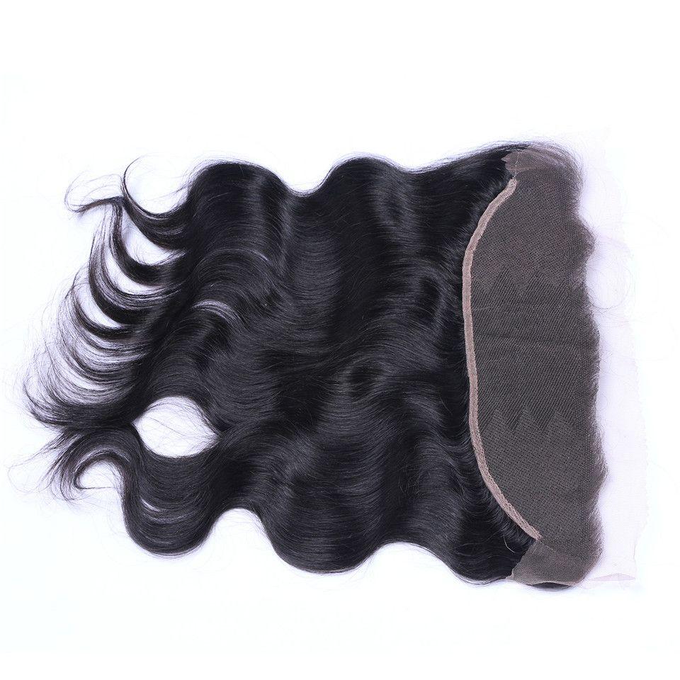 Brasileiro onda do corpo 13x4 Lace Frontal Closures Parte Livre 100% Indiano Malaio Peruano Cambojano Não Transformados Virgem Humano com o cabelo Do Bebê