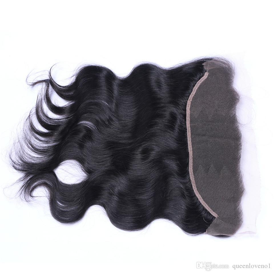 Brasiliano Body Wave 13x4 Pizzo Chiusure frontali Parte GRATUITA 100% Malese indiano peruviano indiano Cambogiana non trasformata vergine umano con i capelli del bambino