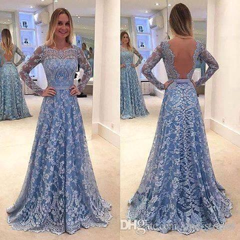 vestidos festa Formal Long Prom Evening Dresses Full Lace Light Blue Long Sleeves Celebrity Party Gowns Bateau Sweep Train V Back BA6834