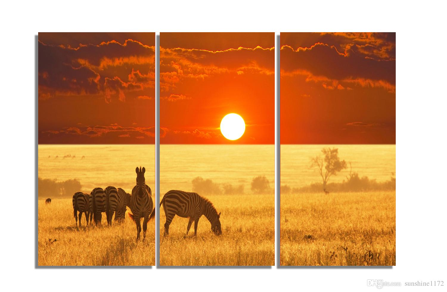 2018 3 Panel Framed Printed Painting Sunset Landscape Canvas Art ...