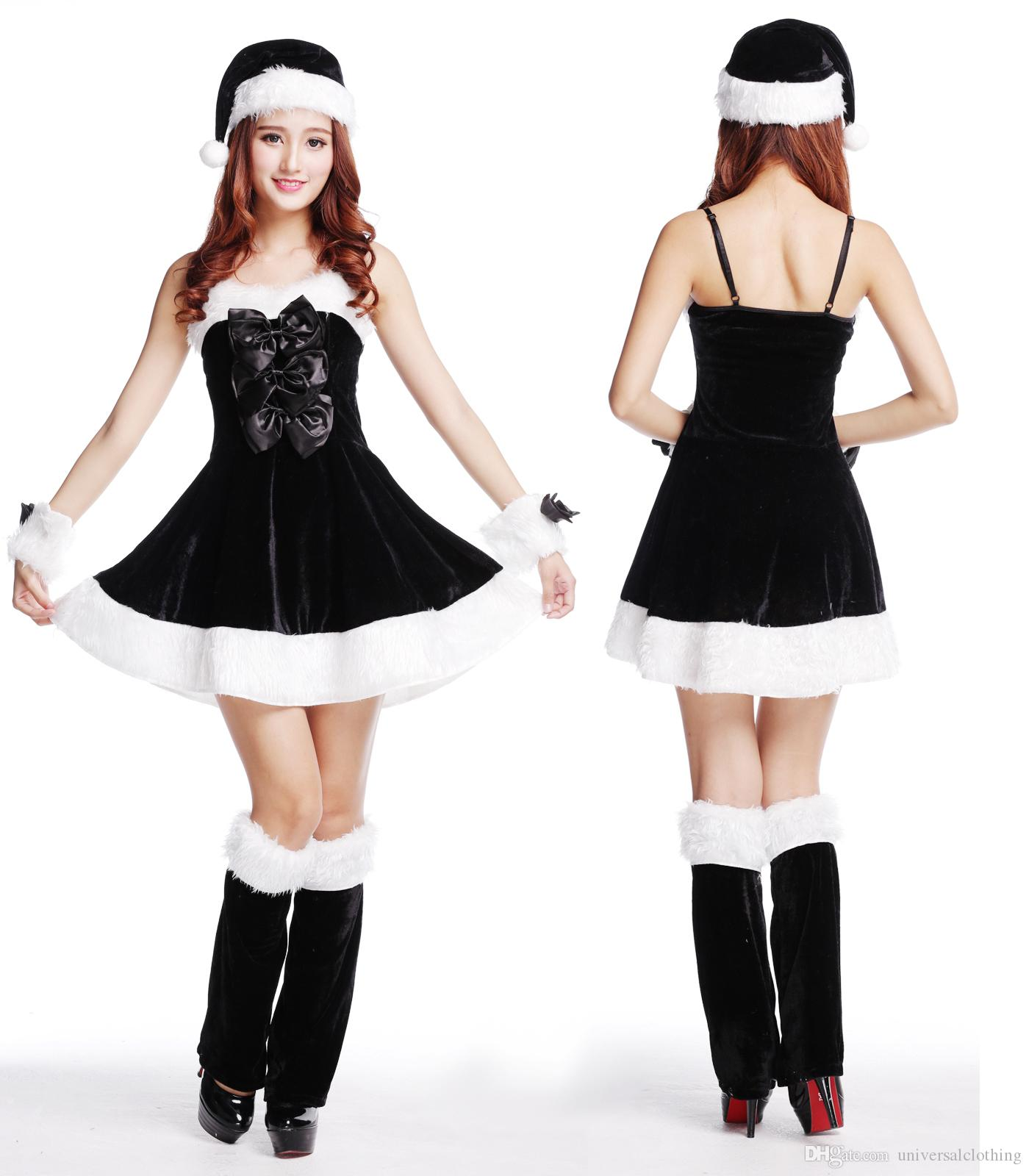 c14b49275572 Black Christmas Uniform Sexy Wrap Around The Chest Santa Role Play Party  Dress Bar