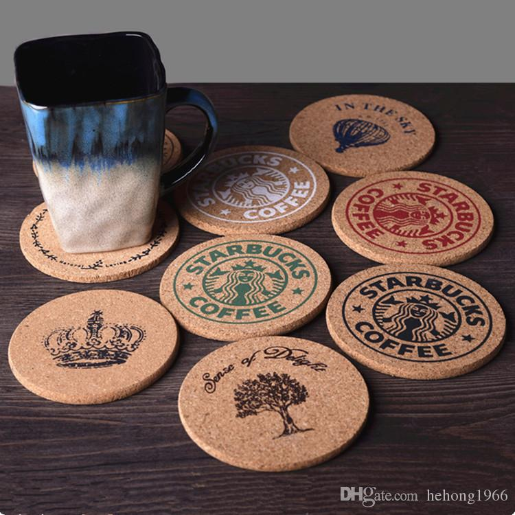 Coffee Cup Mat Wooden Products Retro Style Cork Drink Tea Coaster Table  Decor Thermal Insulation Pad Multi Style Optional 1 8zw F R