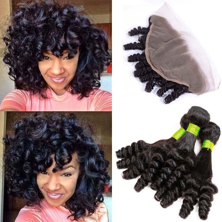 Aunty Funmi Lace Frontal Closure With 3 Bundles of Mink Brazilian Virgin Human Hair Romance Curls Silk Top Full Frontals Ear To Ear Bundles