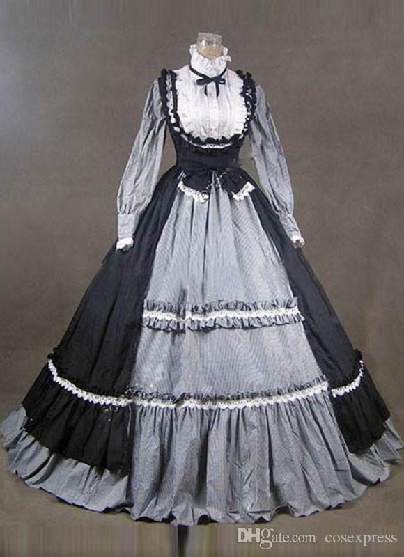 aed2f83fc5b2 2019 2016 Noble Vintage Black Gothic Steampunk Victorian Dress Civil War  Southern Belle Costumes For Women Halloween Party Dress From Cosexpress, ...