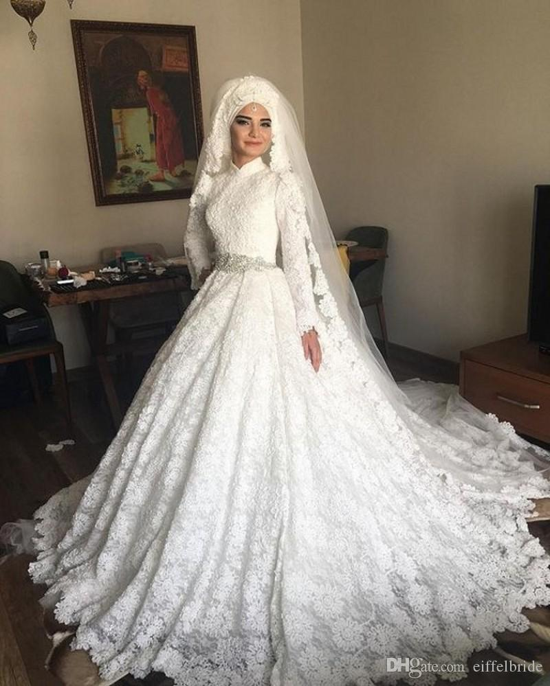 Discount Arabic Bridal Lace Princess Wedding Dresses Islamic High Neck Long  Sleeves Silver Diamonds Beaded Waist Muslim Wedding Dresses Dubai Wedding  Gowns ...