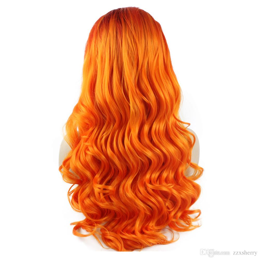 Long Wavy Hand Tied Lace Front Two Tone Orange Cosplay Party Wig
