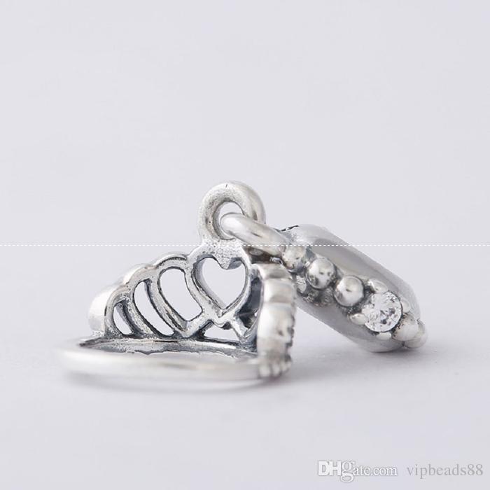 Corona pendente perline fascino 100% 925 sterling-argento-gioielli chiari simboli perline bracciali fai da te braccialetti accessori
