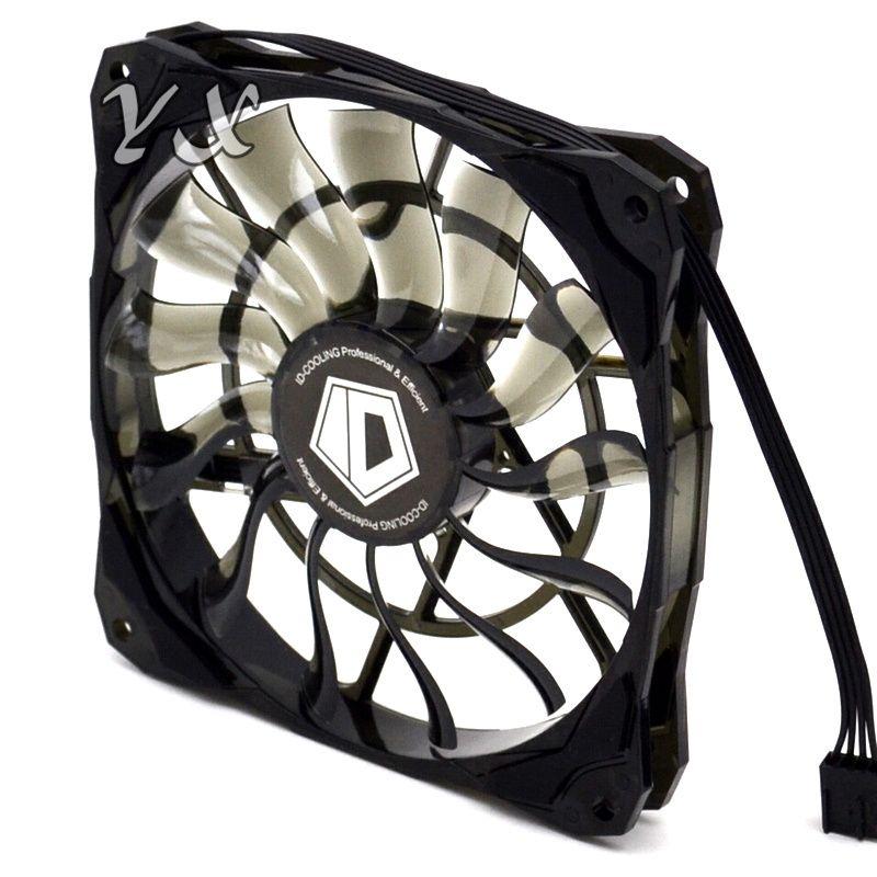 ID-Cooling NO-12015 Slim 15mm سماكة 4pin 12cm PWM التي تسيطر عليها مروحة صغيرة حالة تدفق الهواء كبير 53.6CFM مع دي الاهتزاز المطاط