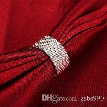 高品質925シルバーメッシュバングルリングイヤリングチャームジュエリーセット女性ファッションシンプルスタイル送料無料5セット/ロット