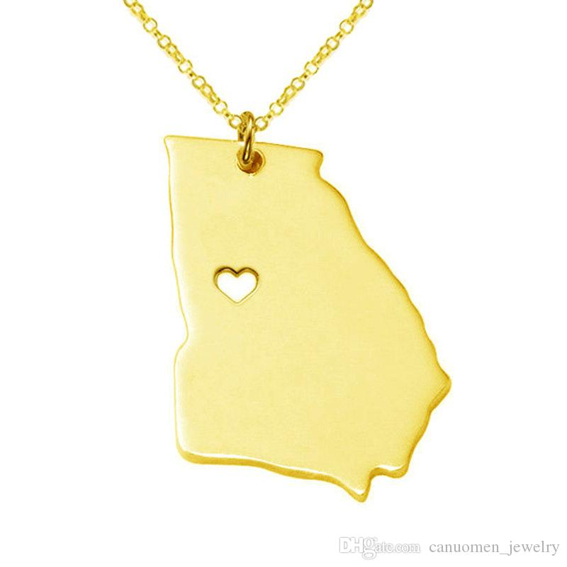 Georgia Map Stainless Steel Pendant Necklace with Love Heart USA State GA Geography Map Necklaces Jewelry for Women and Men