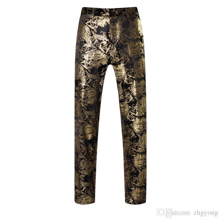 360f66b680b8 Male Pants Trousers Wedding Prom Costume Men s Fashion Gold Golden ...