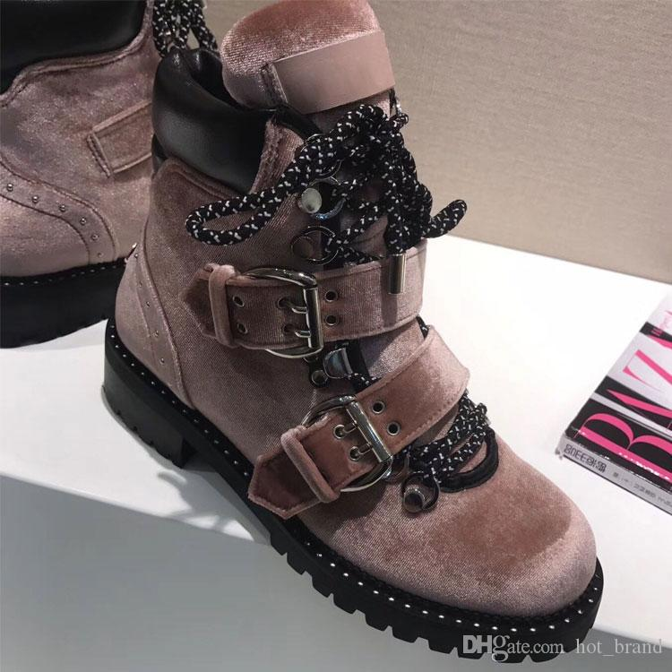 2017 Fall Winter Lace up Womens Martin Boots Flat heel Genuine leather Metal Motorcycle Boot Female