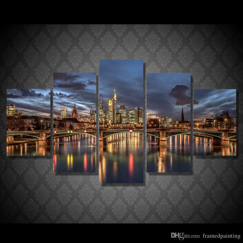 5 Adet / takım Çerçeveli HD Baskılı Londra Şehir Gece Işığı Resim Duvar Sanat Tuval Baskı Odası Dekor Posteri Tuval Boyama