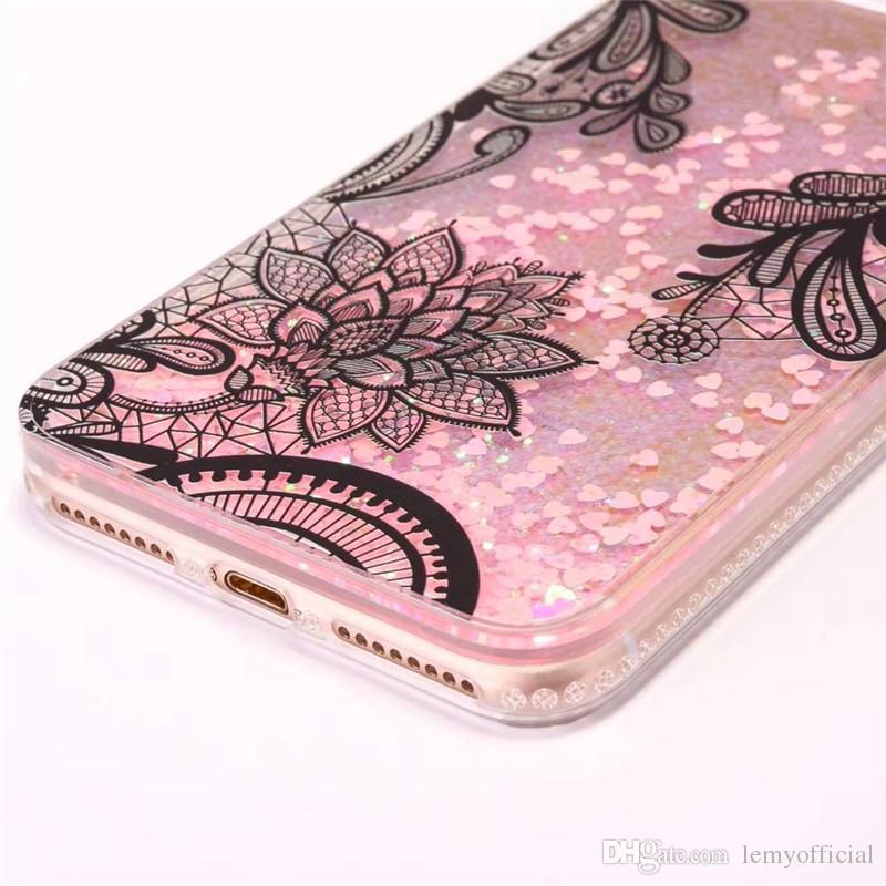 For iPhone6 6s Plus Quicksand Bling Lace Flower Case For iPhone 7 Plus Diamond Edge Powder Liquid Glitter PC+TPU Soft Bumper Back Cover