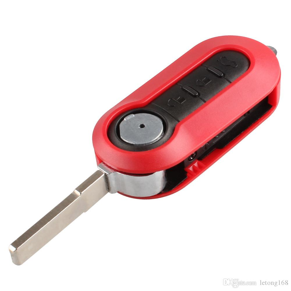 Guaranteed 100% 3 Button Replacement Shell Folding Flip Key Case for Fiat 500 With Red Silicone Cover Combo