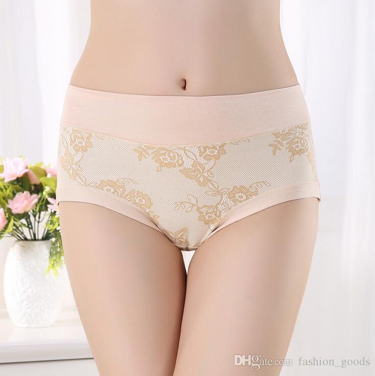 Chegada nova Senhoras de Fibra De Bambu Impresso na mulher underwear cintura nobre triângulo para aumentar o fim do estoque NP048