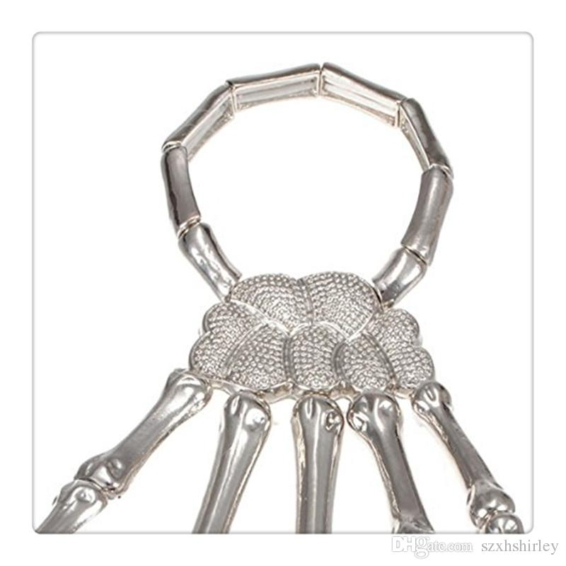 Hot Finger Nail Ring Knuckle Ring Plata Cool Punk Pulsera Jewelry With Gemstone Hipa Esqueleto Hand Bone Talon Garra Cráneo Pulsera Cuff