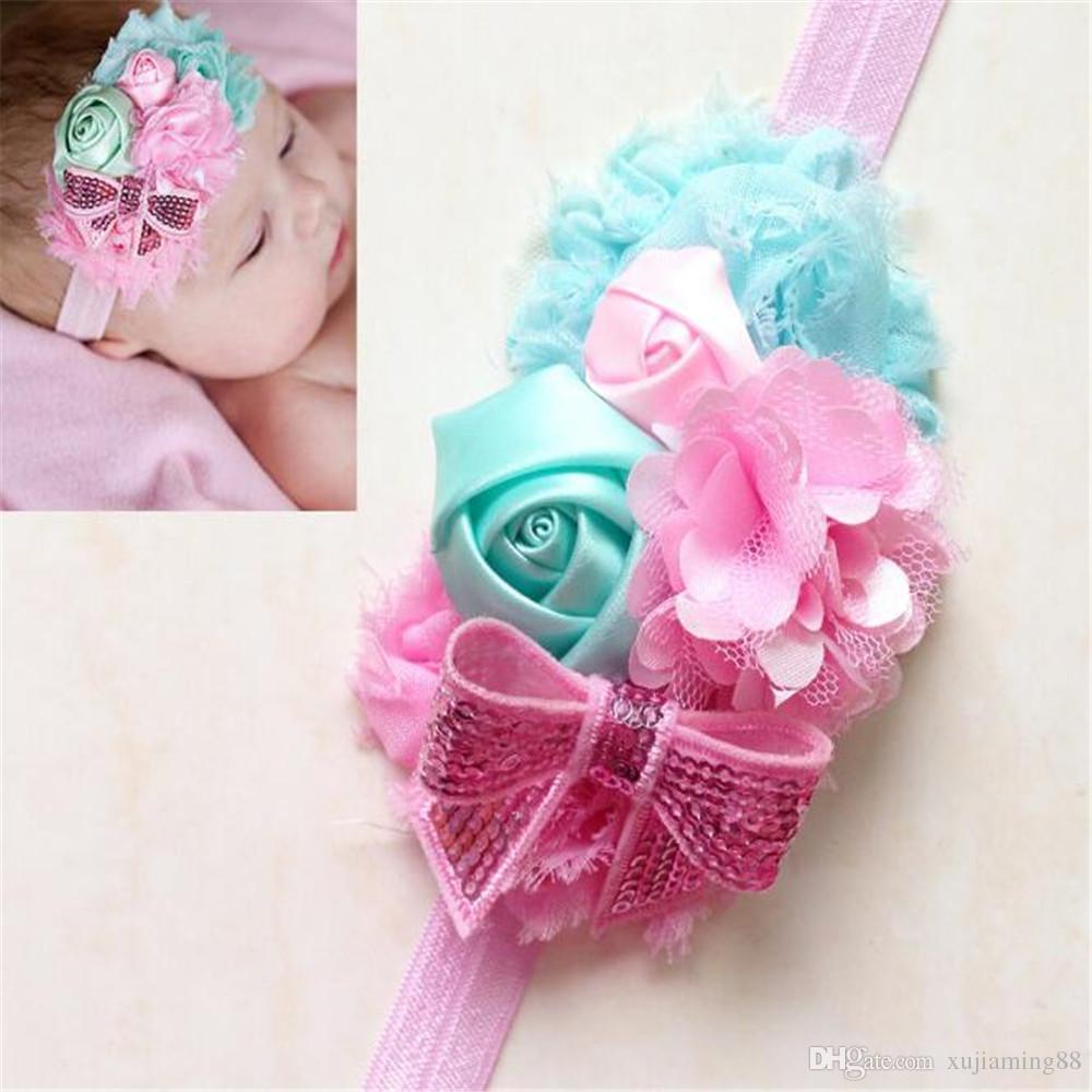 5шт комбинированный цветок лук младенческой детские ободки девушка Hairband головные уборы Дети Детские фотографии реквизит новорожденных детские полосы волос аксессуары