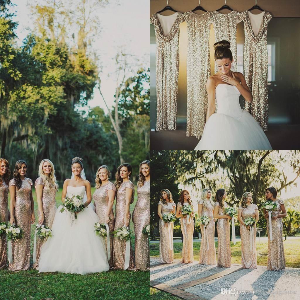 2021火花のローズゴールドシャンパン安いマーメイドの花嫁介添人のドレス半袖スパンコール背中のロングビーチの結婚披露宴のガウン