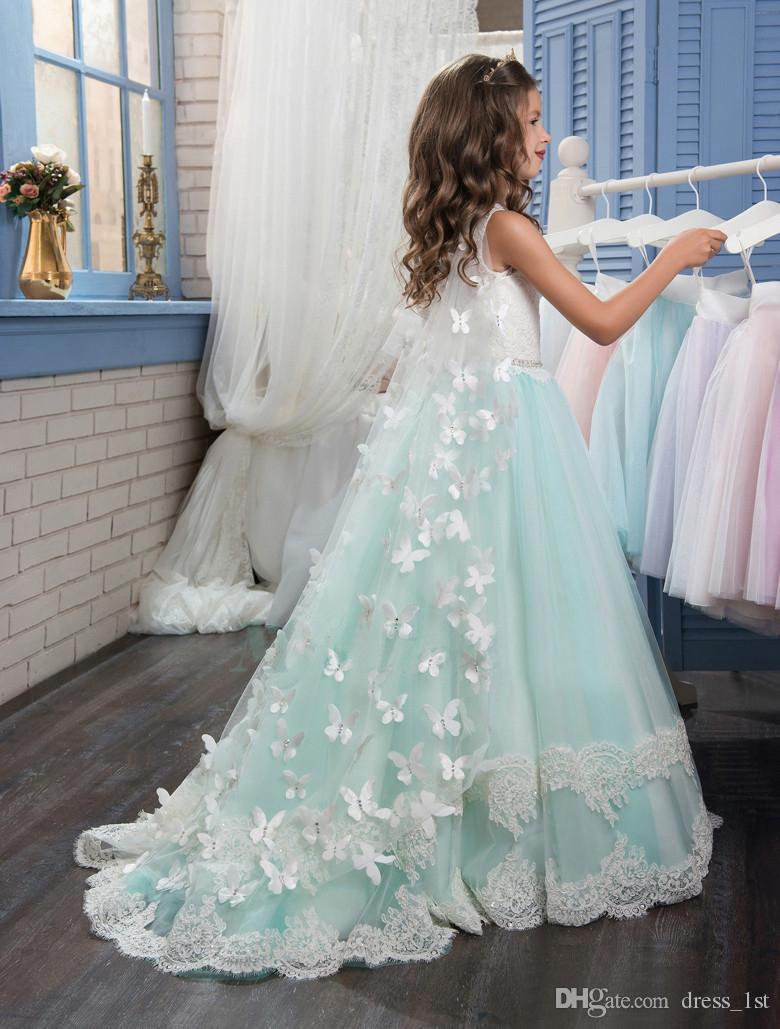 Dernières 2017 Menthe Tulle Ivoire Dentelle A-ligne Fleur Filles Robes Pour Les Mariages Pas Cher Bijoux Perlé Sash Applique Enfants Robe De Mariage EN12155