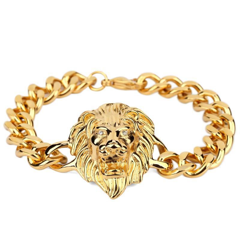 Gold Bracelet Men Hiphop Lion Head Bracelet Charms Stainless Steel ...