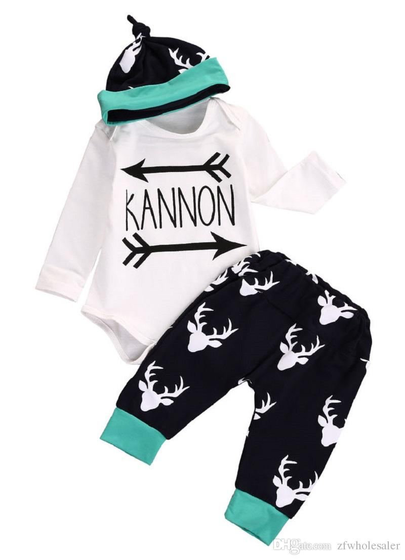Baby Unisex Boutique Clothes Newborn Toddler Reindeer Romper Set Christmas Pajamas Kids Clothing Set Long Sleeve Romper Legging Pants