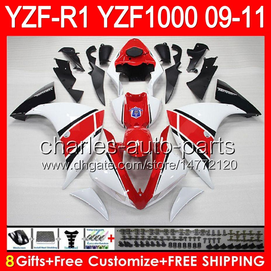 gloss white 8gifts Body For YAMAHA YZFR1 09 10 11 YZF-R1 09-11 95NO3 YZF 1000 YZF R 1 YZF1000 YZF R1 2009 2010 2011 TOP white red Fairing